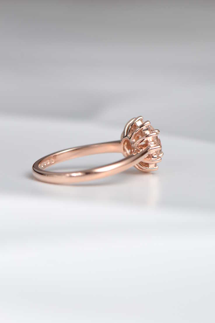 Morganite and diamond cluster ring