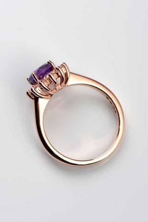 Amethyst and diamond flower ring - Unforgettable Jewellery