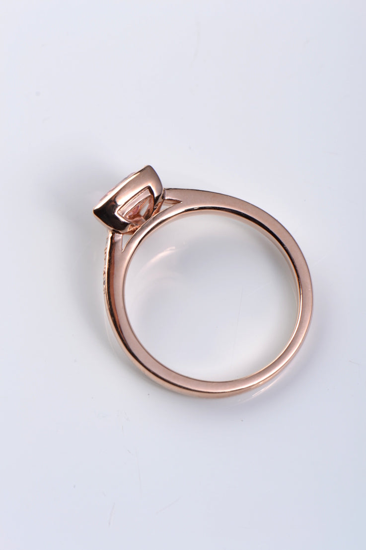 Pink tourmaline and diamond Slingshot ring.