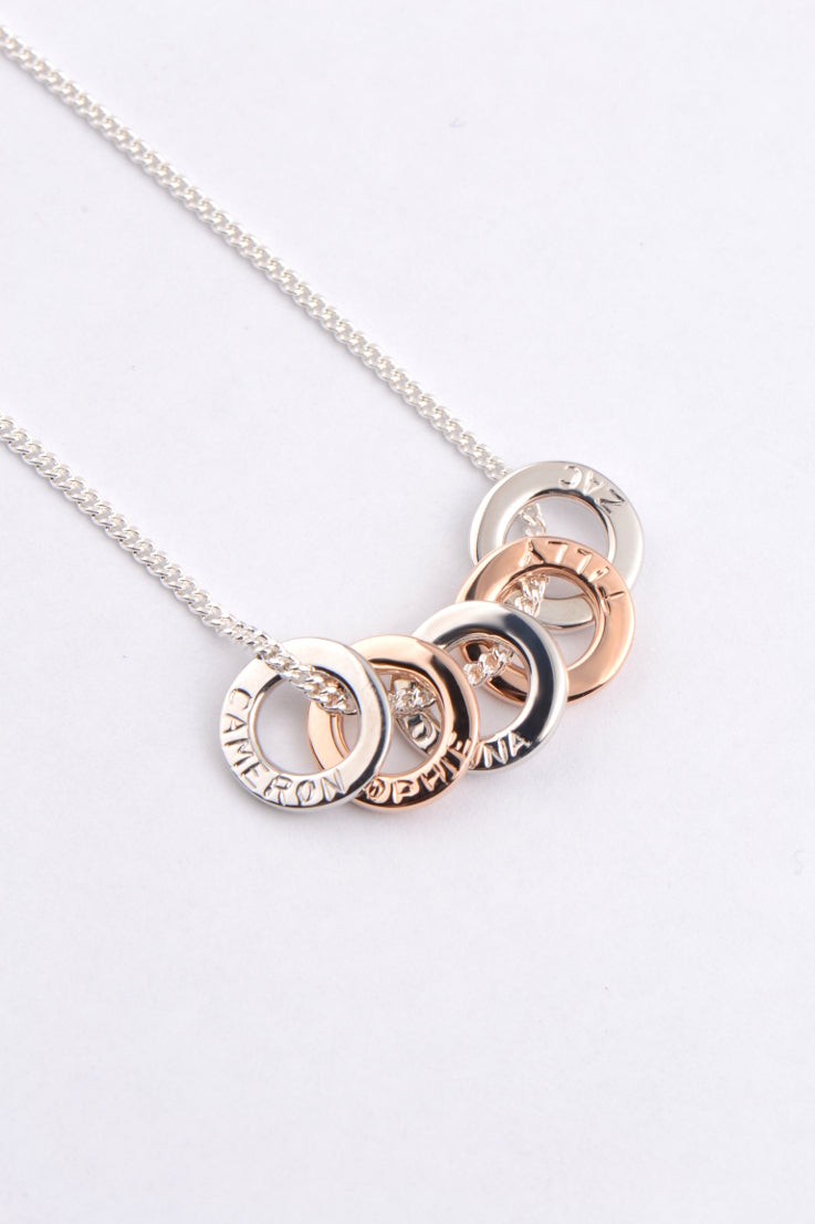 b76674e64 Affinity engraved necklace in rose gold and silver – Unforgettable Jewellery