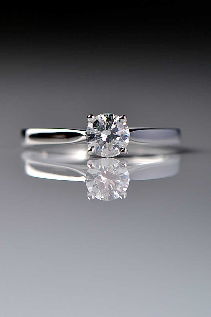 Platinum solitaire diamond ring with secret heart