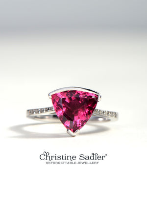 Slingshot rubellite and diamond 18ct white gold ring