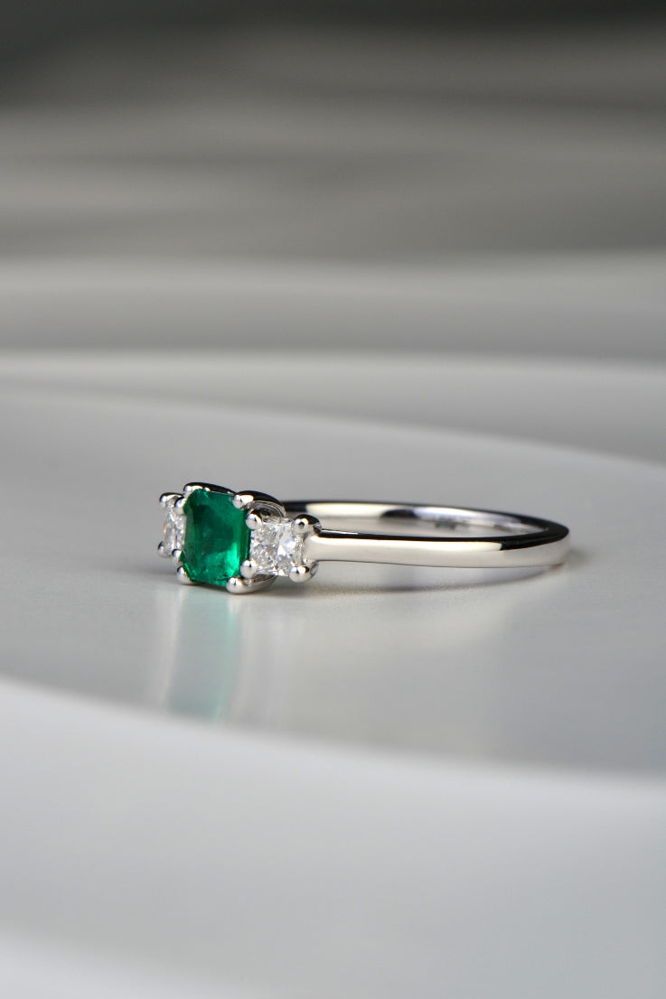 Emerald and diamond 18ct white gold ring