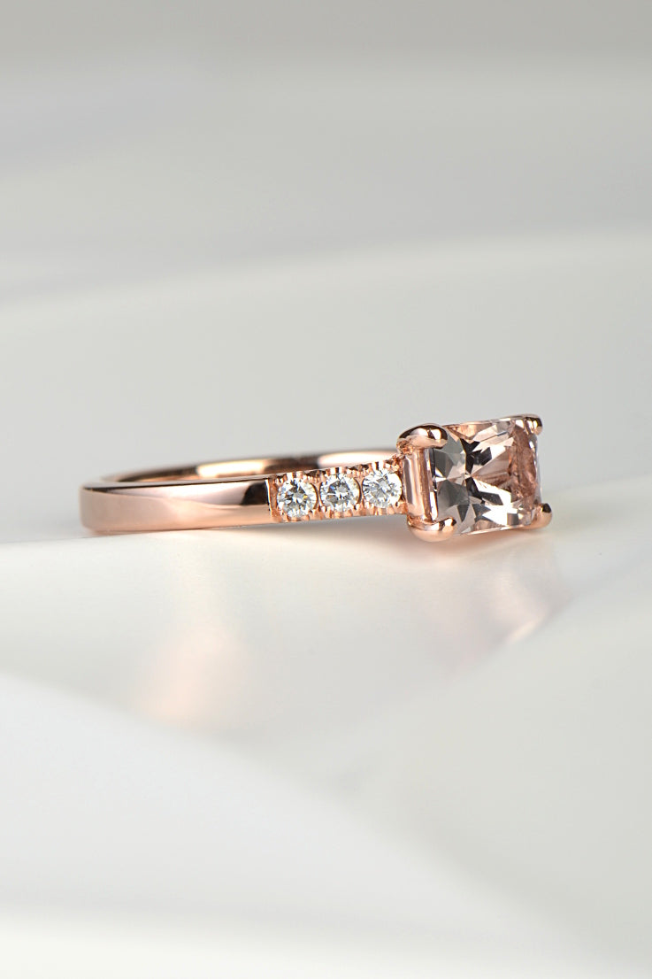 Morganite and diamond 9ct rose gold ring