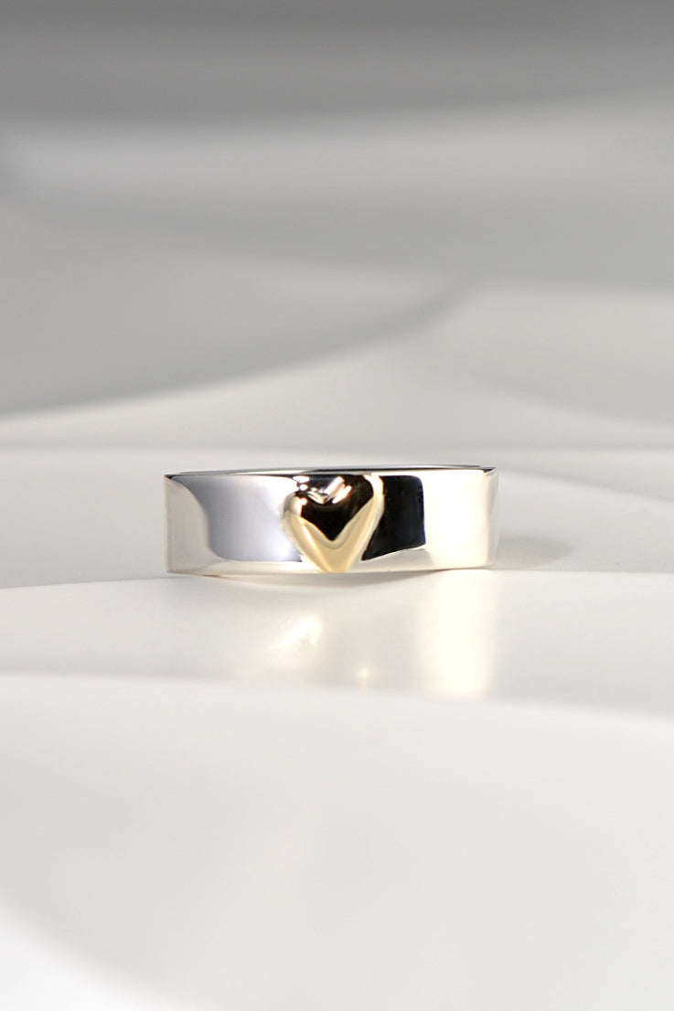 From the Heart silver and gold heart ring