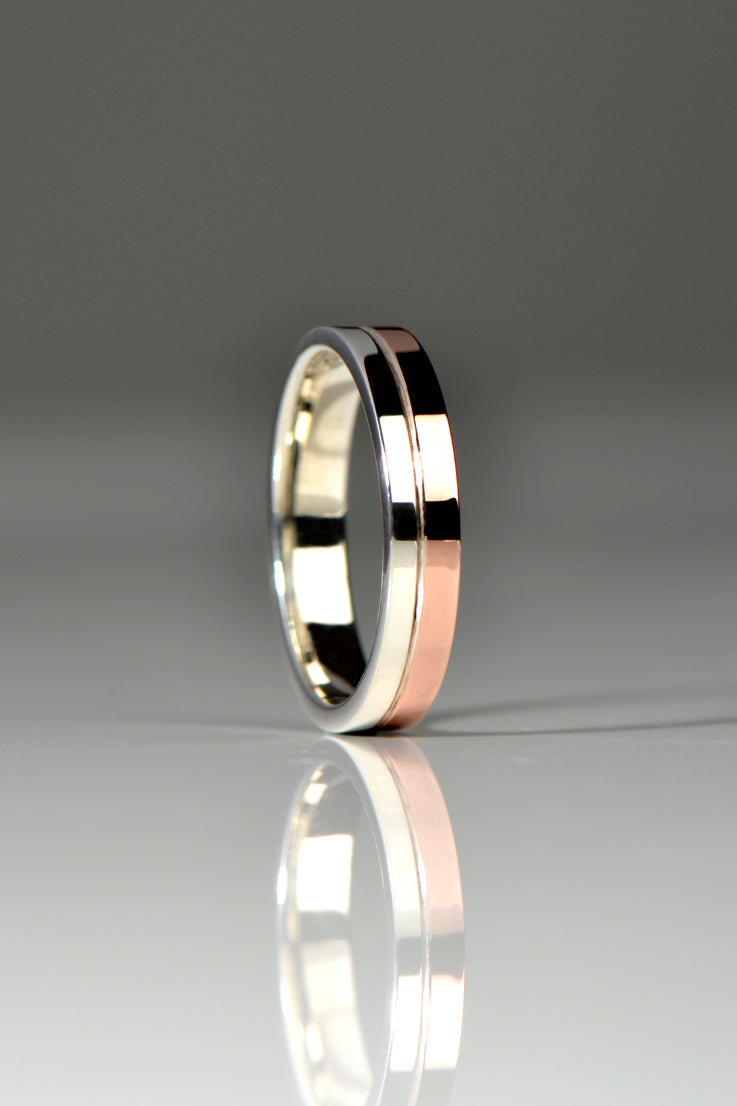 Affinity silver and 9ct rose gold ring