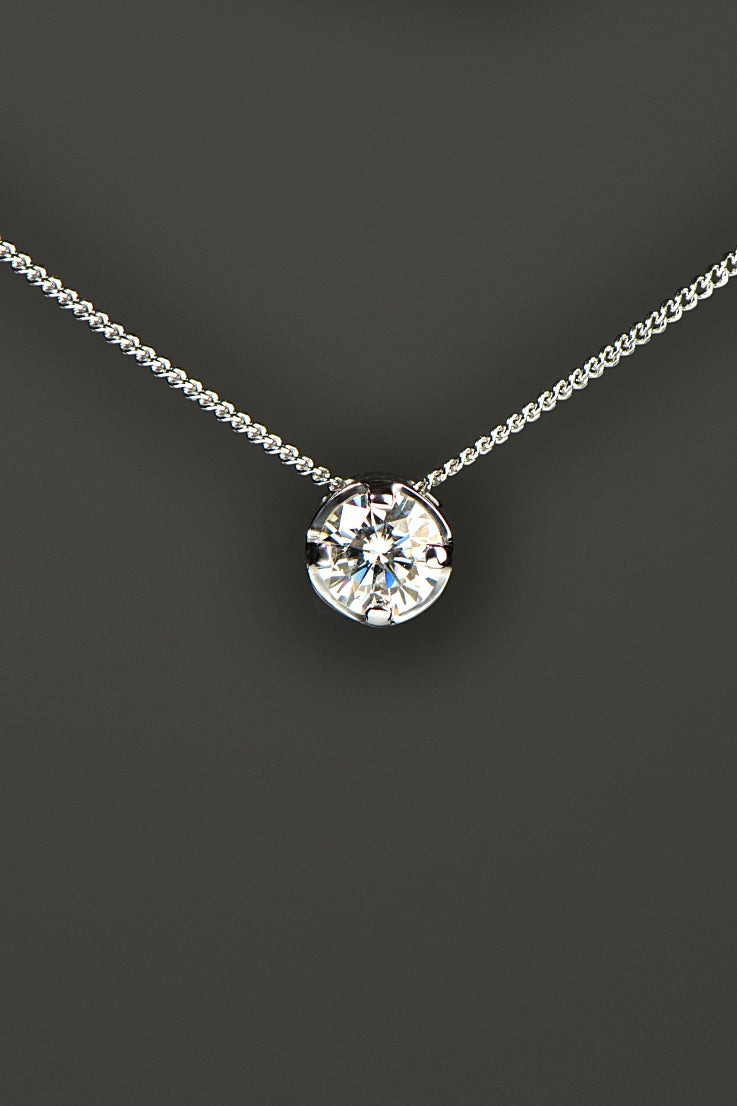 9ct white gold moissanite slider pendant
