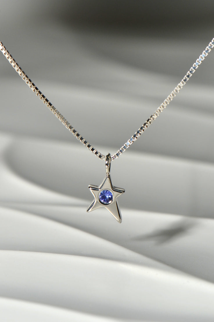 Falling Star necklace with tanzanite