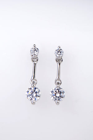 Silver two stone drop earrings