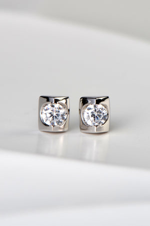 Silver CZ wedge stud earrings