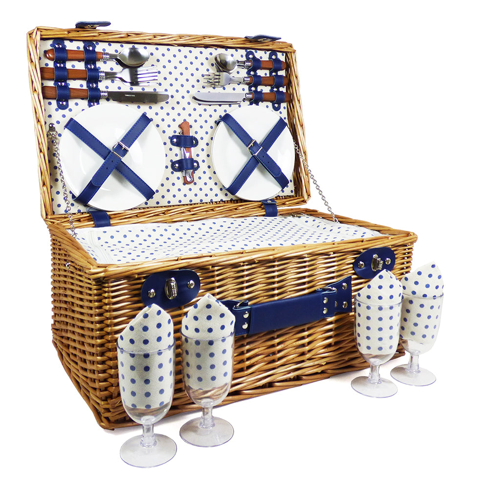 Luxury 4 Person Lonsdale Wicker Picnic Basket with Accessories and Fitted Chiller Compartment