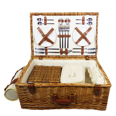 Deluxe Sandringham 4 Person Wicker Picnic Basket with Accessories