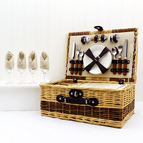 Buxton 4 Person Wicker Picnic Basket - Bosses Day Gift