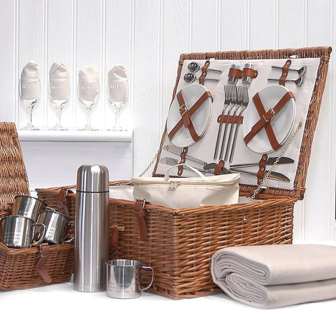 Deluxe Sandringham 4 Person Wicker Picnic Hamper Basket with Accessories