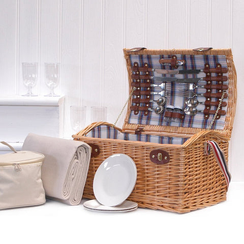 Stretford 4 Person Picnic Basket Hamper with Shoulder Strap, Cream Fleece Blanket & Cream Chiller Bag