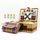 Buxton 4 Person Wicker Picnic Basket with Traditional Style Purple Blanket