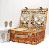 Valentines gifts - Sutton 4 Person Picnic Basket - Luxury Wicker Fitted Hamper with Built in Chiller Compartment & Accessories