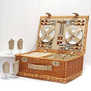 The Deluxe Sutton 4 Person Picnic Basket - Luxury Wicker Fitted Hamper with Built in Chiller Compartment & Accessories