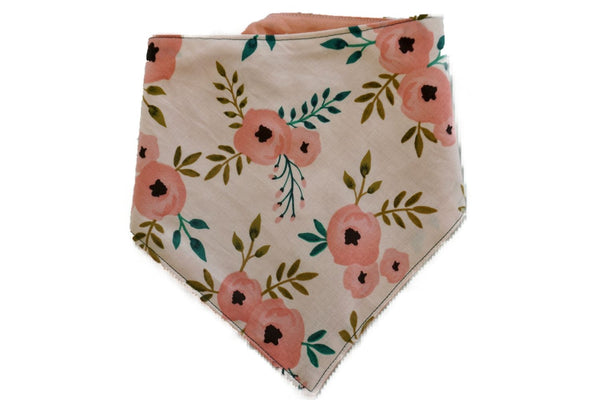 "Personalized Pink Flower Print Dog Bandana ""Peonies and Pink"""
