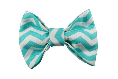 "Turquoise Chevron Bow ""Be Bright"""