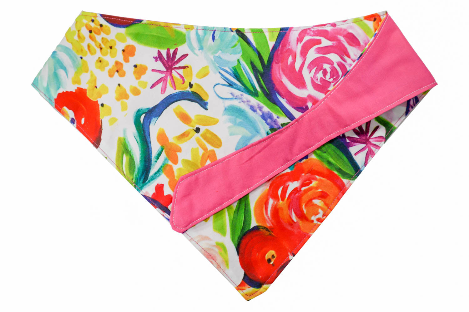 Pretty floral pattern dog bandana with pink accent