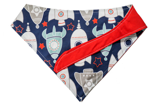 A handmade red and rocket ship pattern made for dogs