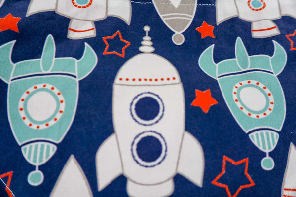 Cute rocket ship patterned fabric for dog bandanas
