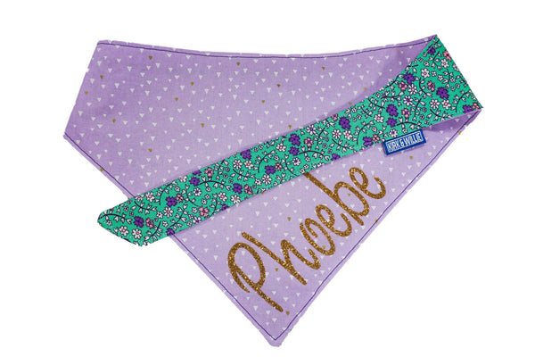 "Personalized Floral Print Dog Bandana ""Everyday Is For Flowers"""
