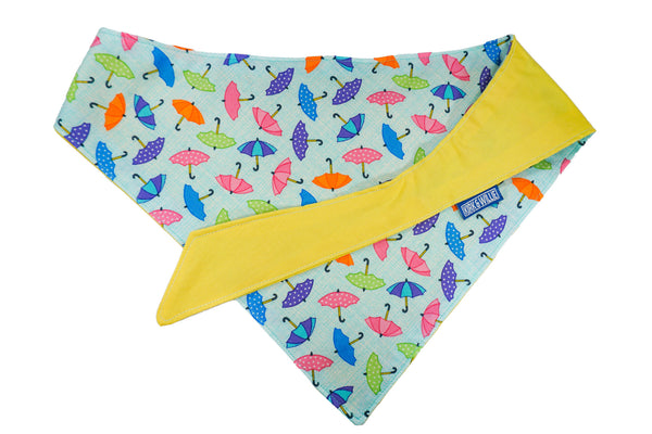 "Personalized Umbrella Print Dog Bandana ""Singing In The Rain"""