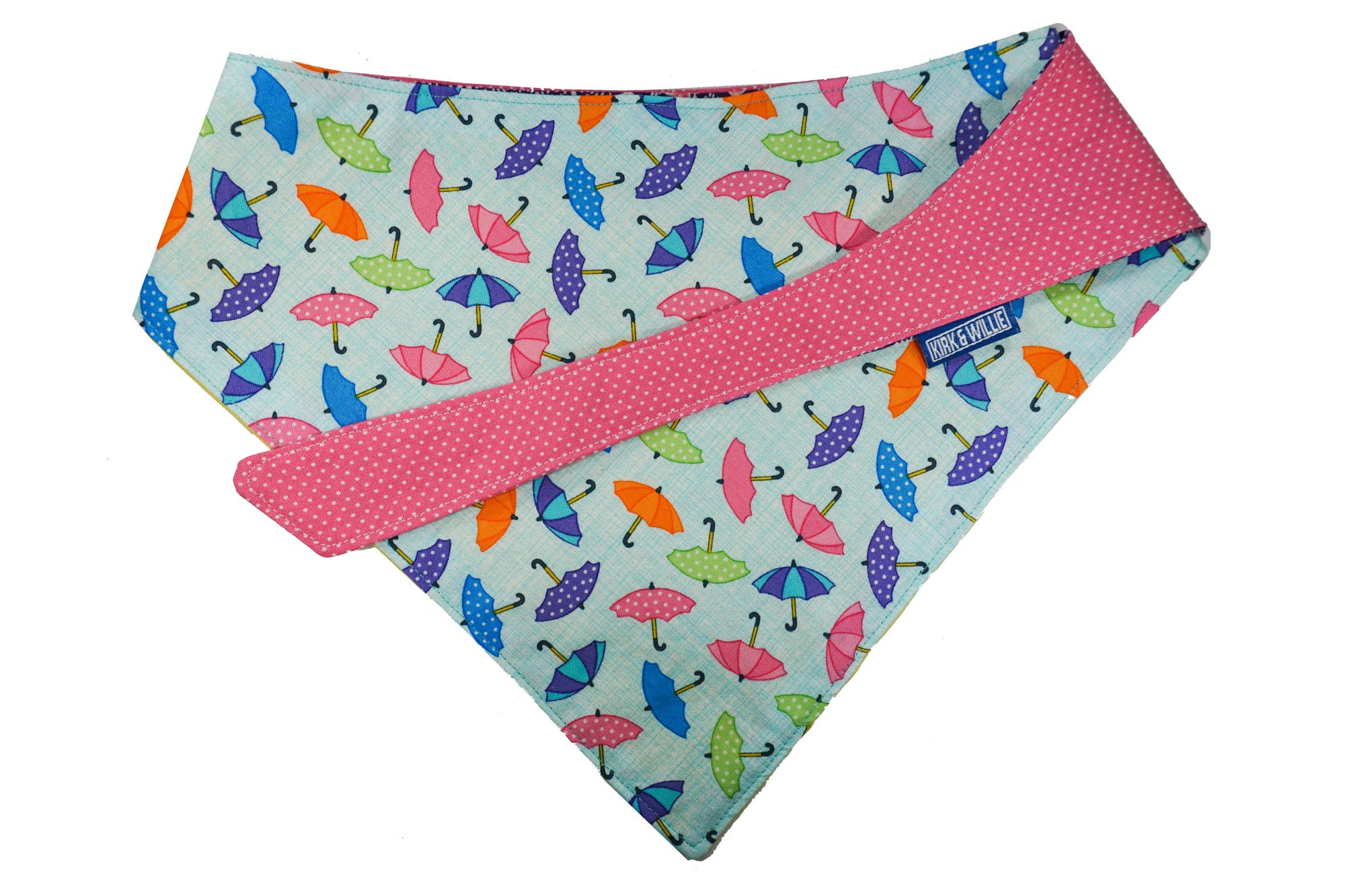 "Personalized Umbrella Print Dog Bandana ""Rain or Shine"""