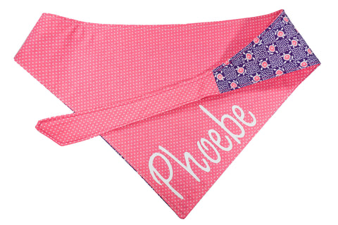 "Personalized Roses Print Dog Bandana ""Stop & Smell The Roses"""