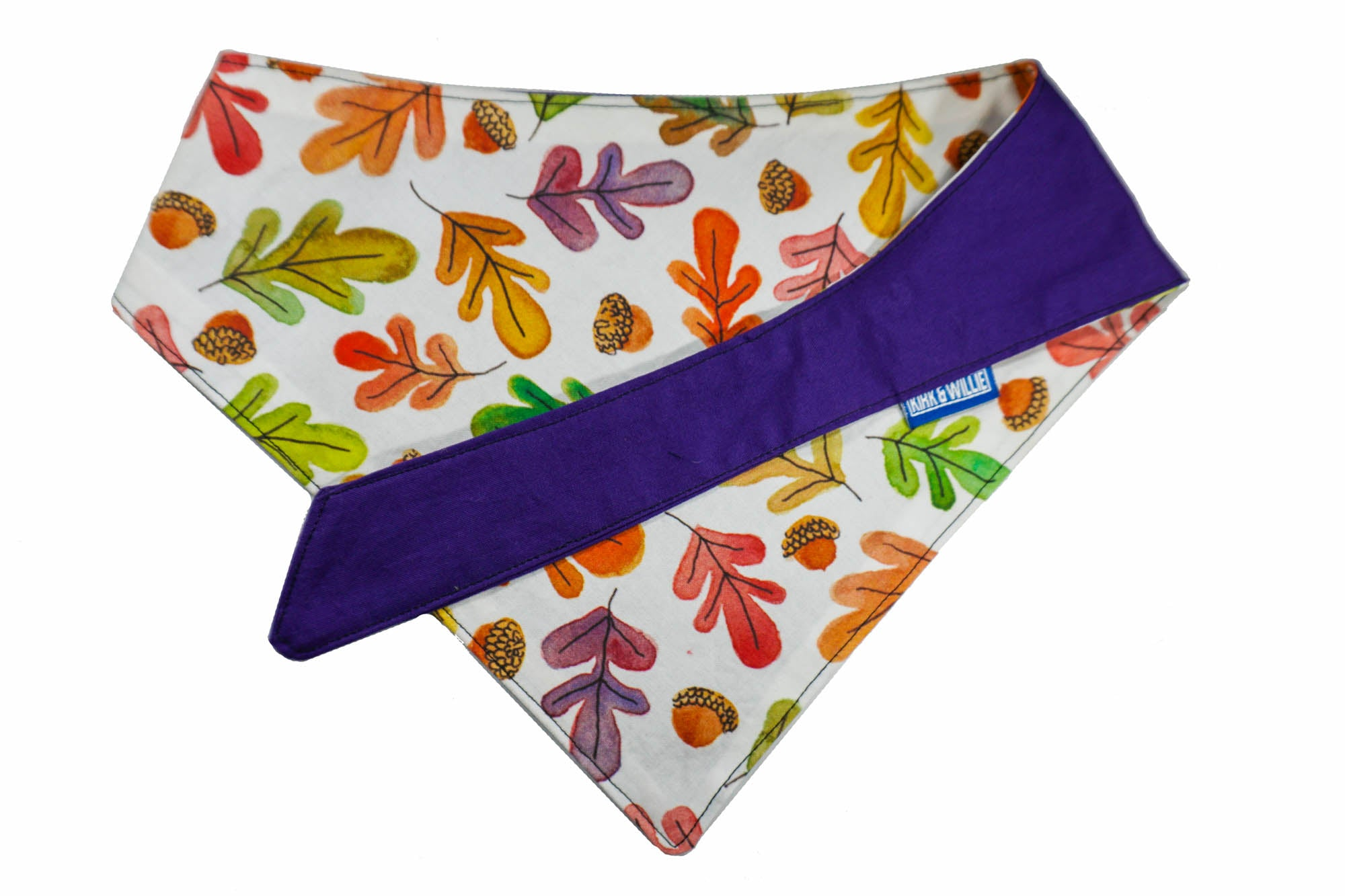 "Personalized Fall Leaf Print Dog Bandana ""Falling in Love"""
