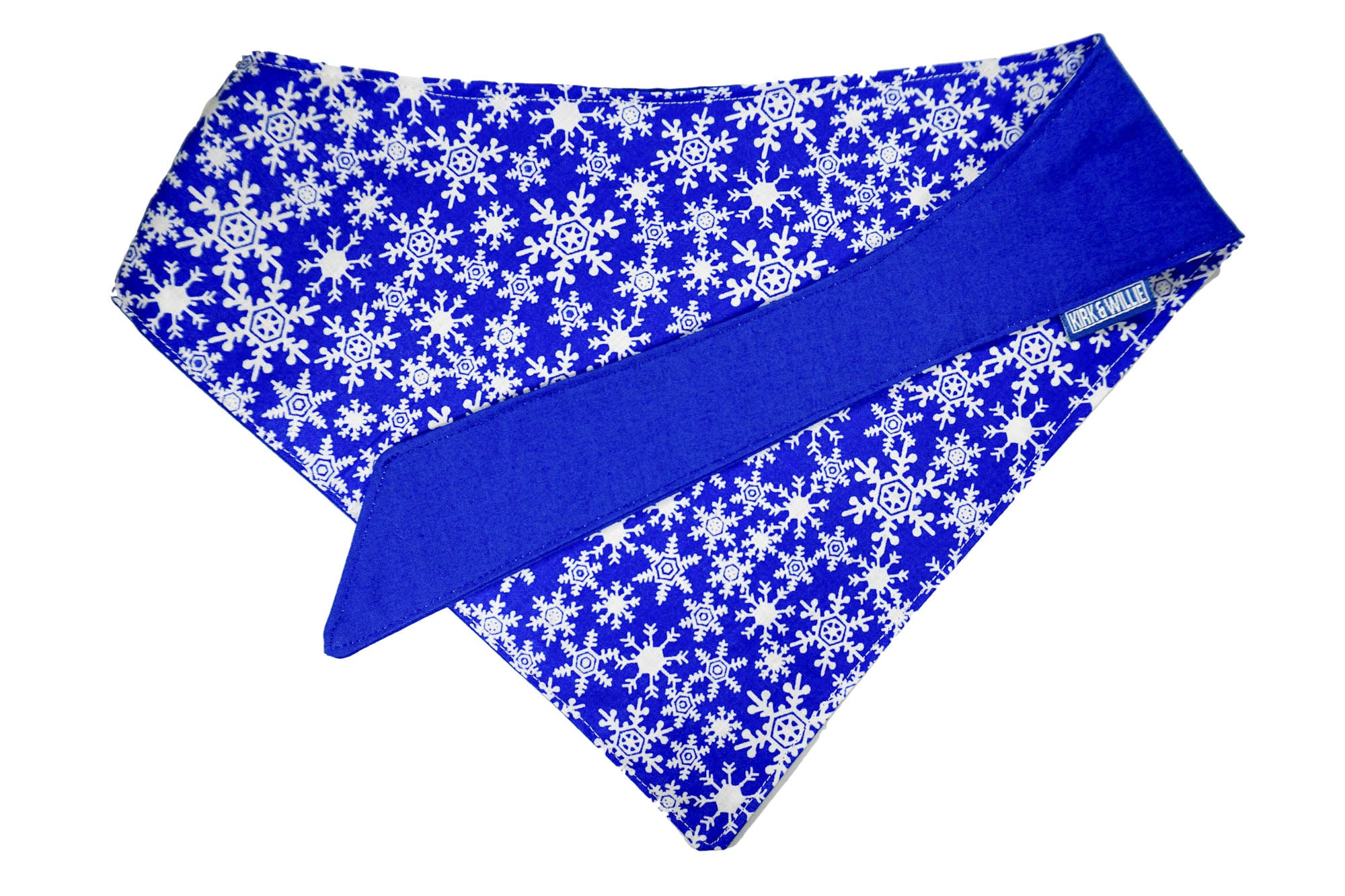 "Personalized Snowflake Print Dog Bandana ""Snowflake Kisses"""