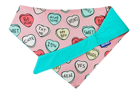 "Personalized Candy Hearts Dog Bandana ""Pick Me"""