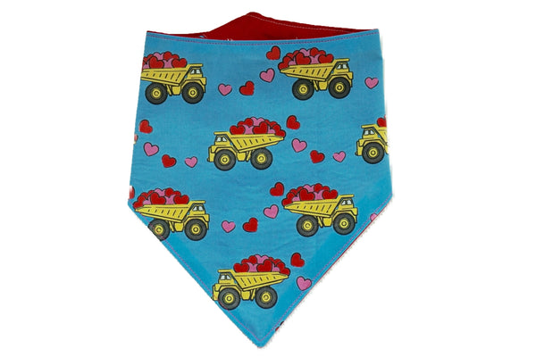 "Personalized Truck Print Valentine's Day Dog Bandana ""Truckloads of Love"""