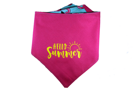 """Hello Summer"" Flamingo Print Dog Bandana"