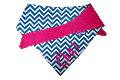 "Personalized Chevron Print Dog Bandana ""Summer Lovin"""