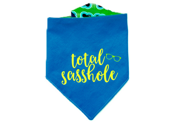"""Total Sasshole"" Sunglass Boy Print Dog Bandana"