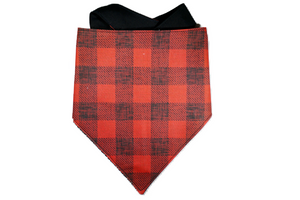 "Personalized Red Buffalo Plaid Dog Bandana ""Red Lip Classic"""