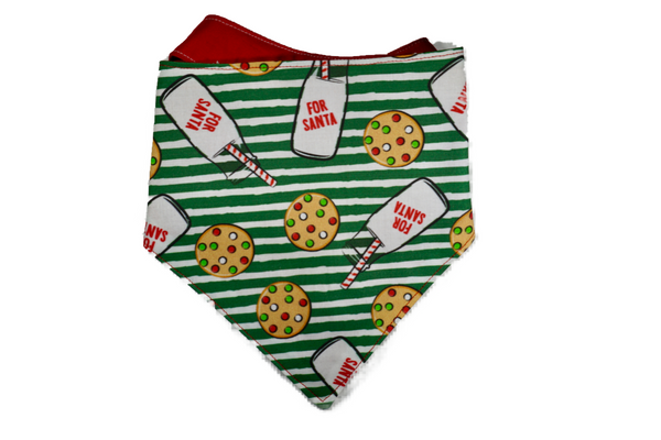 "Personalized Cookies & Milk Dog Bandana ""Santa's Snack"""