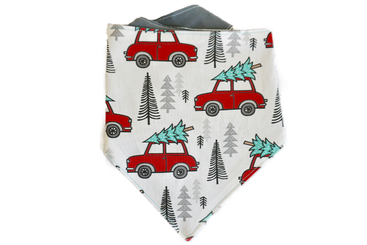 "Personalized Red Truck Dog Bandana ""To Grandmothers House We Go"""