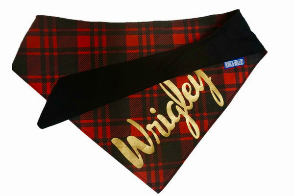 "Personalized Red Plaid Dog Bandana ""Mad About Plaid"""