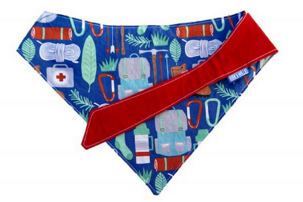 "Personalized Camping Print Dog Bandana ""Happy Camper"""