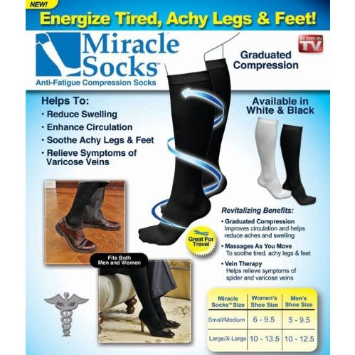 Miracle Socks Antifatigue Compression Socks- White (Large/ XLarge)