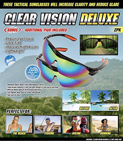 Clear Vision Deluxe Tactical Sunglasses - 2pk