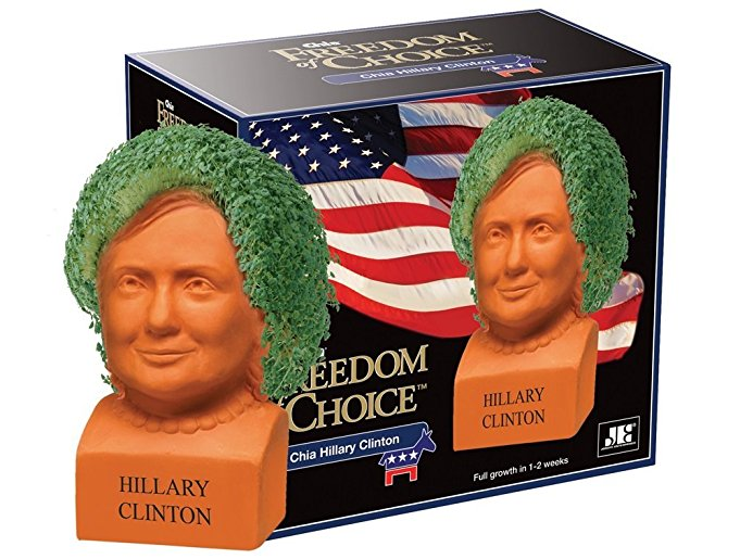 Chia Freedom of Choice Hillary Clinton Planter Special Edition - Happy
