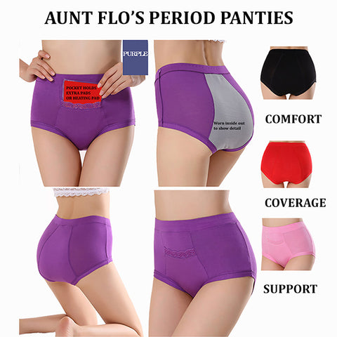Aunt Flo's Period Panties with Pocket- Purple- 3XL