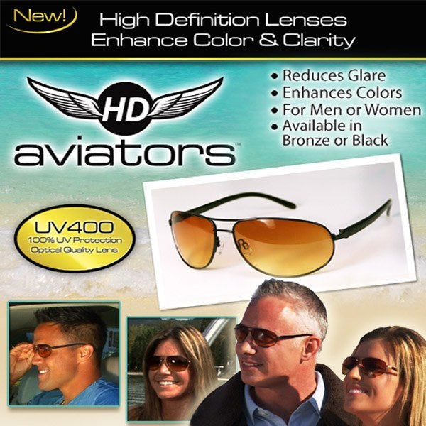 HD Vision Aviators Sunglasses- Bronze- 2 Pack