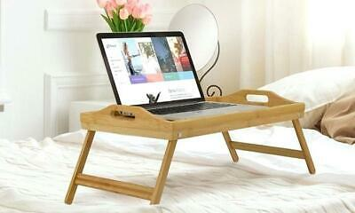 Portable Folding Bamboo Bed Table - All Purpose Bed Serving Tray Laptop Lap Desk