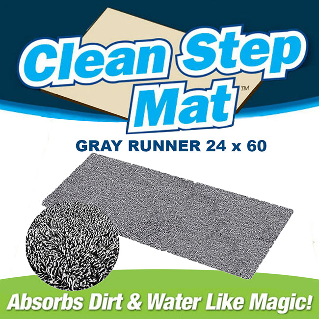 "Clean Step Mat Runner (24"" x 60"")- Gray"